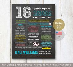 16th birthday gift for son - Fun Facts 2002 sign - Personalized 16th Birthday Gift Idea for brother, him, boyfriend, boy - DIGITAL file! - THIS LISTING IS FOR A DIGITAL COPY ONLY - NO PHYSICAL PRODUCT WILL BE SHIPPED TO YOU!
