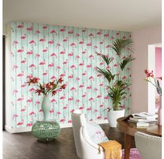 papier-peint-flamant-rose-intisse