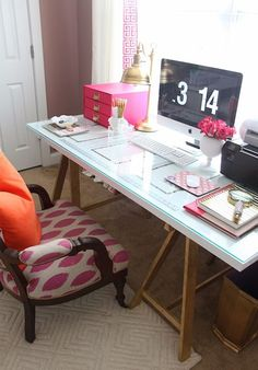 Home office.Pretty desk space - pink and gold accessories, glass topped sawhorse desk table. Home Office Space, Desk Space, Office Workspace, Home Office Design, Home Office Decor, Home Decor, Office Spaces, Office Style, Ikea Office