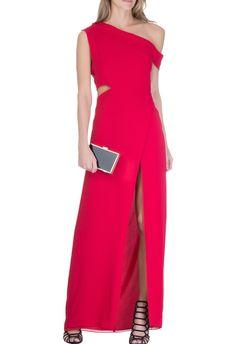 BE.THA - Vestido longo recorte elegance - vermelho - OQVestir