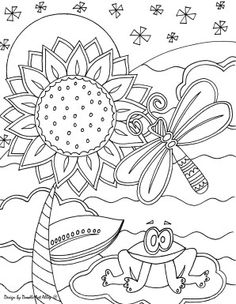 Sunflower & Pond Life Coloring Page