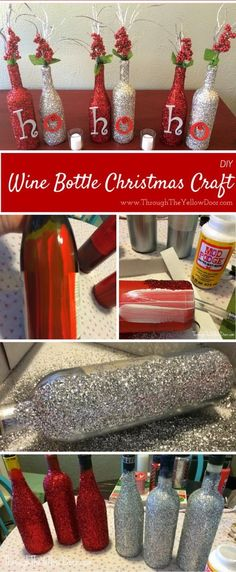 DIY Glitter Christmas Wine Bottles. More