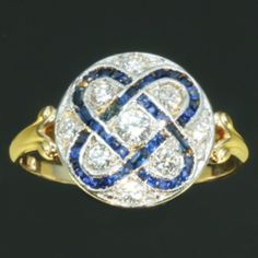 Two tone gold Art Deco diamond and sapphire antique engagement anniversary ring