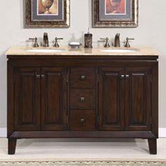 "Bathroom Remodel Double Sink 48"" ashley - bathroom vanity double sink cabinet (red chestnut"