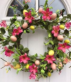 Easter Parade Pink Spring Flowers and Egg Silk Floral Wreath for Front Door Interior Summer Decor Includes Wreath Hanger Spring Door Wreaths, Wreaths For Front Door, Wreath Hanger, Easter Parade, How To Make Wreaths, Spring Flowers, Diy And Crafts, Floral Wreath, Pink