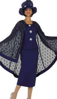 3pc Purple Nubiano Church Suit With Laced Cape
