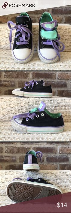 Converse All-Stars Infant size 8 mint green purple and black Converse All-Stars. They have been worn Converse Shoes Sneakers