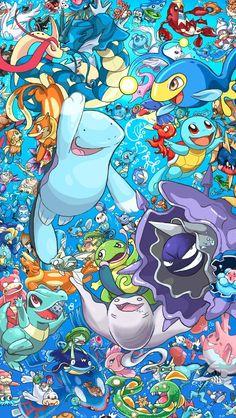 Water Types of Pokemon Pokemon Agua, Water Type Pokemon, Mega Pokemon, Pokemon Memes, Pokemon Fan Art, Cool Pokemon, Pokemon Backgrounds, Pikachu, Cute Pokemon Wallpaper