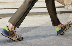 Valentino via jakandjil.com  Nice idea of the patched ribbon on pant leg