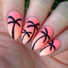 Tropical Ombre Coral Sunset Stiletto Nails With Palm Trees.