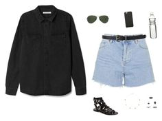 """Untitled #1319"" by tayloremily218 on Polyvore featuring Topshop, Ray-Ban, Black Apple, Forever 21, Dot & Bo and Alison Lou"