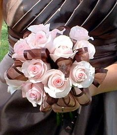 ribbons and rose bridal bouquet in pink and brown by bloomingeventsfl, via Flickr