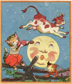 "Vintage 1930's Nursery Rhyme Scene Illustration ""Hey Diddle Diddle"" Hey Diddle Diddle, Pomes, Vintage Nursery, Vintage Children's Books, Children's Book Illustration, Illustration Children, Moon Art, Nursery Rhymes, Fairy Tales"