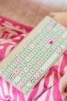 Mint and pink heart polka dot Washi tape style Macbook keyboard decal Decal Sticker for Macbook Pro Macbook Air Stickers Mac Decals Samsung