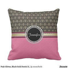 Pink Glitter, Black Gold Swirls Damask name