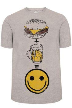 BadRhino Cream Marl 'Burger + Beer' T-Shirt - TALL Extra large sizes L,XL,2XL,3XL,4XL,5XL,6XL,7XL