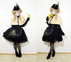 Get this look: http://lb.nu/look/5625771  More looks by Lovely Blasphemy: http://lb.nu/lovelyblasphemy  Items in this look:  Alice & The Pirates Mystic Alice Mini Hat, Gothic Lolita Wigs Long Curly Lolita   Milk Tea, Black Peace Now Blouse, Angelic Pretty Classical Champagne Skirt, Forever 21 Boots   #lolitafashion #angelicpretty #himelolita #kurololita