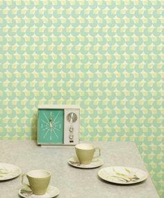 pastel, blue, wallpaper, retro, tea, cup, clock, radio, vintage, sixties, 1960s