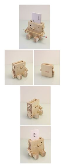 Pen holder with business cards, show off the top of the line pens. Cute idea for a ceramic card holder robot! Cnc Projects, Wooden Projects, Wooden Crafts, Diy And Crafts, Projects To Try, Woodworking Plans, Woodworking Projects, Business Card Holders, Business Cards