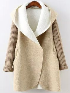 To find out about the Khaki Hooded Long Sleeve Pockets Sweater Coat at SHEIN, part of our latest Outerwear ready to shop online today! Hooded Sweater, Sweater Coats, Brown Sweater, Khaki Coat, Faux Shearling Coat, Color Khaki, Online Clothing Stores, Long Sweaters, Pulls