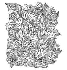 Zen-doodle patrón floral negro sobre blanco — Vector de stock