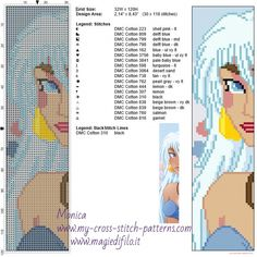 Princess Kida (Atlantis the lost empire) bookmark cross stitch pattern  - free cross stitch patterns simple unique alphabets baby