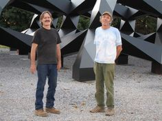 Alfred and Don with Tony Smith's Smug, Glenstone 2005, photo courtesy Tony Smith Estate