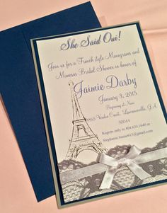 French themed bridal shower invitations - Monograms and Mimosas - Paris theme bridal shower on Etsy - Southern Rose Designs