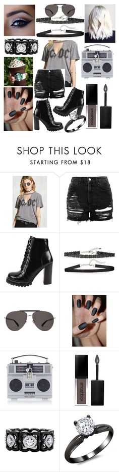 """""""Back in Black"""" by whodatgirl ❤ liked on Polyvore featuring Forever 21, Topshop, Jeffrey Campbell, Chan Luu, Gucci, Dolce&Gabbana, Smashbox and De Beers"""