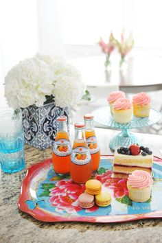 Easy Entertaining: A Quick and Beautiful Set Up for Sips and Sweets on Mother's Day - A pretty tray, cake platter and glasses from HomeGoods make mom feel extra special. Sponsored Post