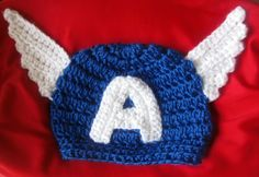 Crochet Captain America hat for babies and kids on Etsy, $15.00