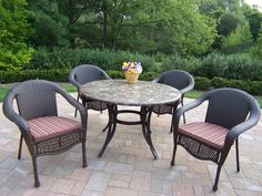 Stone Art Elite Wicker 5 Piece Dining Set with Cushions