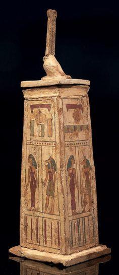 Coffre à Canopes en bois stuqué (Égypte, Époque Ptolémaïque)