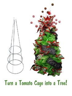 Christmas tree made from a tomato cage, deco poly mesh, chalkboard ribbon, ball sprays and chevron ribbon, includes video tutorial at Trendy Tree.
