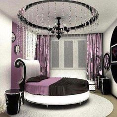 bonne dcoration de couleur mauve pour la chambre a couch plus dcoration au niveau lumiere - Chambre Mauve Et Noir