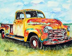 Old Truck Painting - Rusty Old Truck by Maria Barry Gouache, Abstract Landscape, Watercolor Landscape, Watercolor Paintings, Old Paintings, Country Paintings, Watercolour, Old Trucks, Vintage Trucks