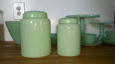 This listing is for a jadite coffee and tea canister set. The canisters and lids are in mint condition. No chips or cracks. The coffee canister is
