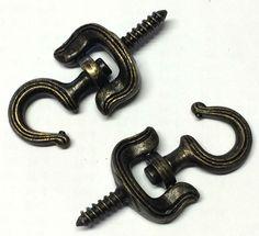 Antique Bronzed Ceiling Hook x 2 Bronze Swivel Hooks 5.5cm Including Thread