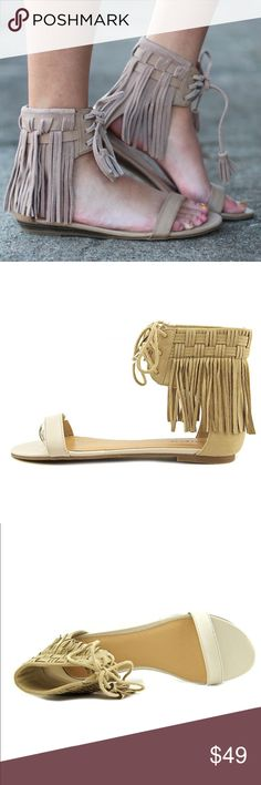 "Fringe Ankle Strap Sandals Ankle Strap Sandals in Wheat/White. Blend of Vegan Suede and Leather Upper.  Measurements: 0.5"" heel Width: B(M) Boutique Shoes Sandals"