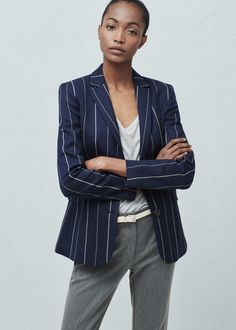 Pinstripe suit blazer - Jackets for Women Blazer Jackets For Women, Blazers For Women, Suits For Women, Pinstripe Suit, Formal Suits, Printed Blazer, Style Guides, Blazer Suit, Outfit