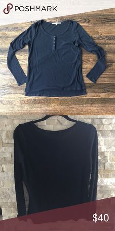 """Lovers + Friends long sleeved thermal tee Slits approx 6"""" on either side. Soft cotton. Rounded neck and faux buttons down front. Lovers + Friends Tops Tees - Long Sleeve"""