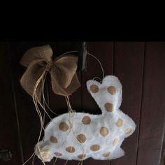 Burlap bunny for front door