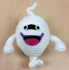 Love Yokai Watch as much as I do?! Here is my pattern for Whisper who is inspired by the game/anime, Yokai Watch! He is everyones favorite butler yokai ^____^  *****  Skill Level: Beginner: You need to know how to make a magic circle, single crochet (sc), decrease (dec), and increase (inc).  Supplies Youll Need: Craft glue Crochet hook: size H (5.00 mm) Felt in the following colors: black, dark pink, purple, and white Polyester filling Scissors Yarn: white in worsted weight (4) Yarn Needle…