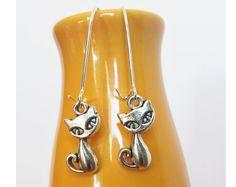 Sexy cat earrings Silver cat earrings Kitty by LuckyKarmaCreations