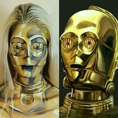 Day 4: C3P-Woah! Appropriately named by my model @kaypikefashion! This was actually only supposed to be a test run (hence no bald cap) but it worked out so well that I couldn't not share it right away! If you guys are following me on periscope then you got to see a bit of the progress of our VERY late paint jam. Stay tuned for a list of products used and possibly some fun edits from @kaypikefashion  I'm really proud of this one and I hope you all like it too!  #starwars #theforceawakens…