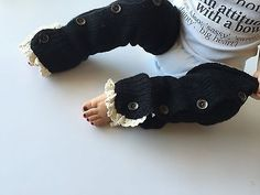 Black Baby & Toddler Girl Crochet Lace Button Up Leg Warmers, Ships FREE