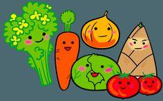 にこにこ春野菜たち たけのこ たまねぎ にんじん 菜の花 キャベツ トマトのイラス