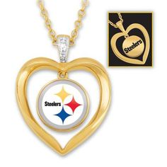 The Pittsburgh Steelers Diamond Heart Pendant   The Danbury Mint
