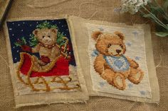 Cute-Lovely-Teddy-Bear-Baby-Completed-Needlepoint-Canvas