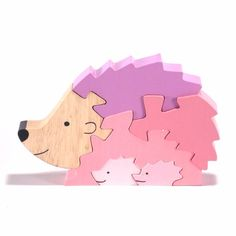 Hedgehog Family Wooden Puzzle Kids Motor Skills  #SriToys